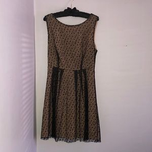 Black lace overlay, fit and flare dress, size M